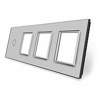 Лицевая панель для сенсорного выключателя Livolo 1 канал и 3х розеток, цвет серый (VL-C7-C1/SR/SR/SR-15), фото 1