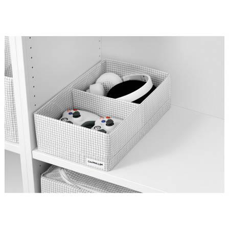 СТУК Ящик с отделениями, белый/серый, 20x34x10 см 20364004 ИКЕА, IKEA, STUK, фото 2