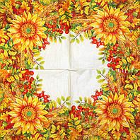 Декупажная салфетка Цветы жёлтые 7342