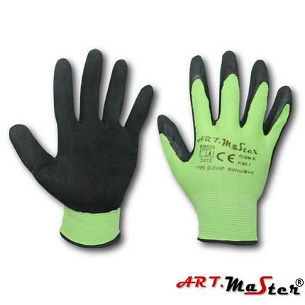 Перчатки RWNYL B + S с латексным покрытием, черно-зеленого цвета, ARTMAS, р.10, фото 2