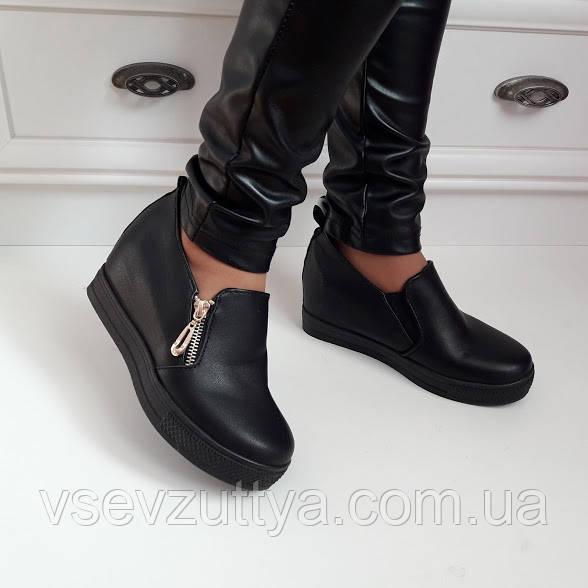 Туфлі жіночі чорні на танкетці. Тільки 36 розмір! - Інтернет-магазин