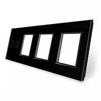 Сенсорная панель выключателя Livolo 2 канала и трех розеток (2-0-0-0) черный стекло (VL-C7-C2/SR/SR/SR-12), фото 1