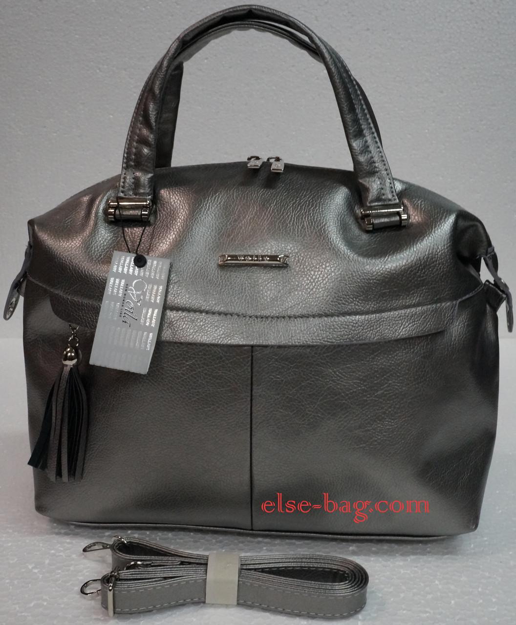 c5e2d269a252 Женская сумка саквояж с передним карманов на кокетке -