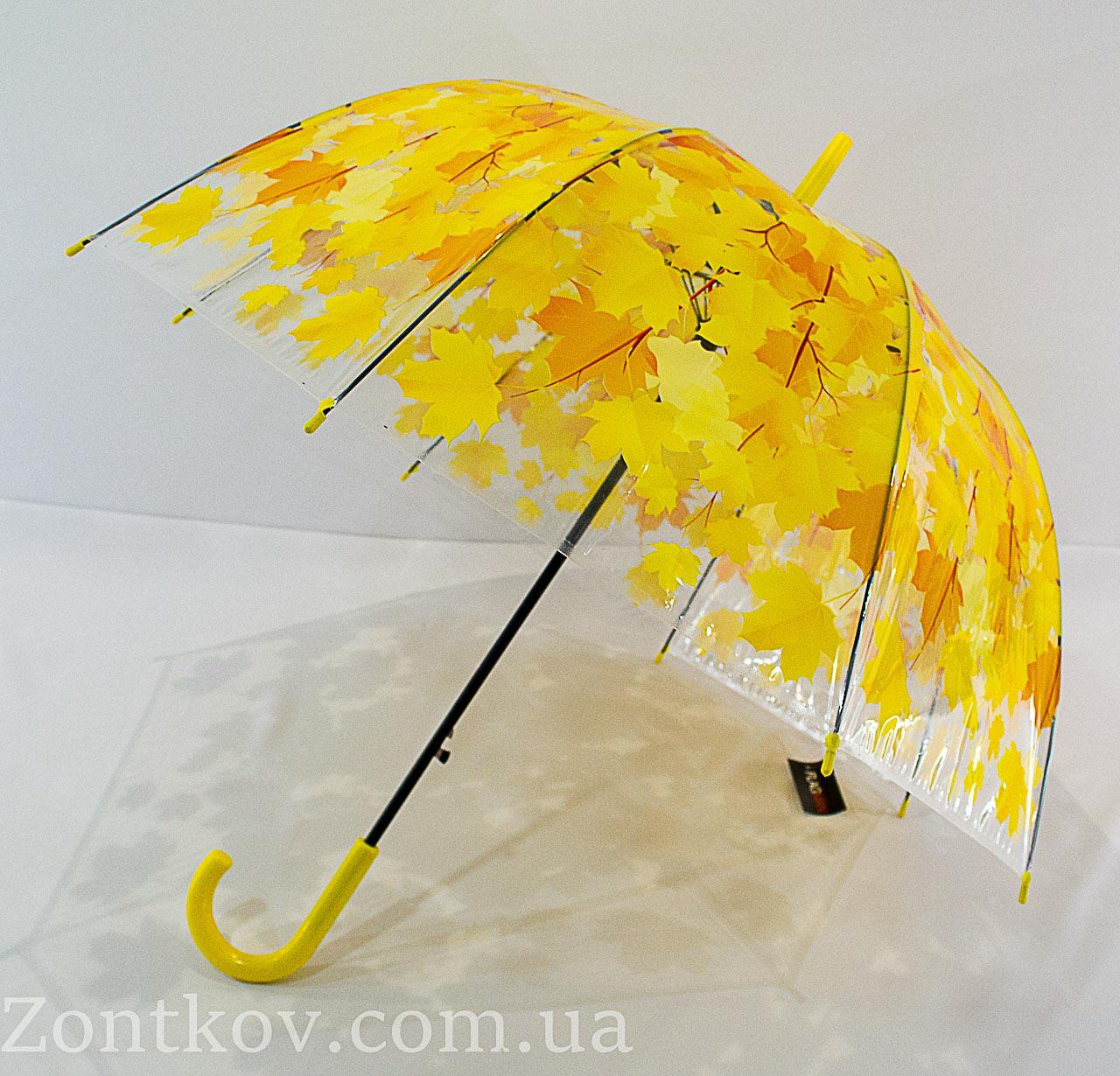 """Прозрачный зонтик трость с листьями """"грибок"""" от фирмы """"Max"""""""