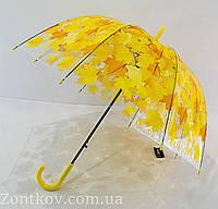 """Прозрачный зонтик трость с листьями """"грибок"""" от фирмы """"Max"""", фото 1"""
