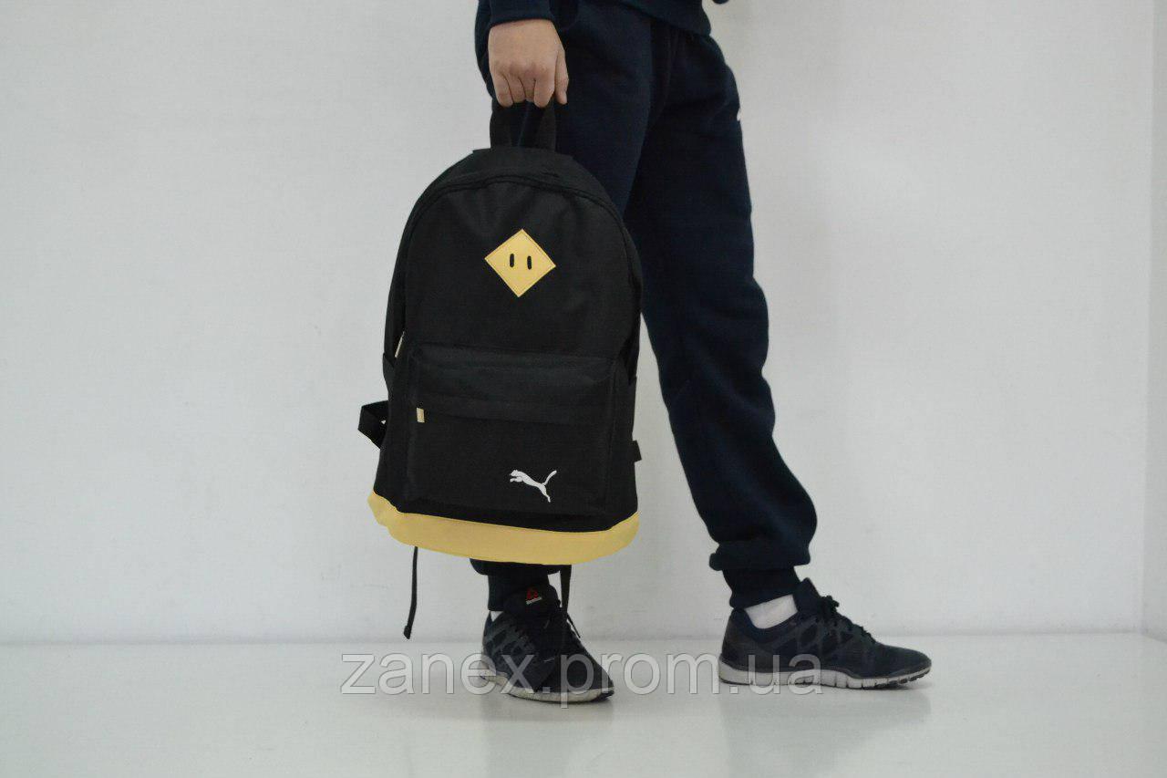 Рюкзак в стиле Puma городской мужской с отделением для ноутбука с кожаным дном (черный с бежевым)