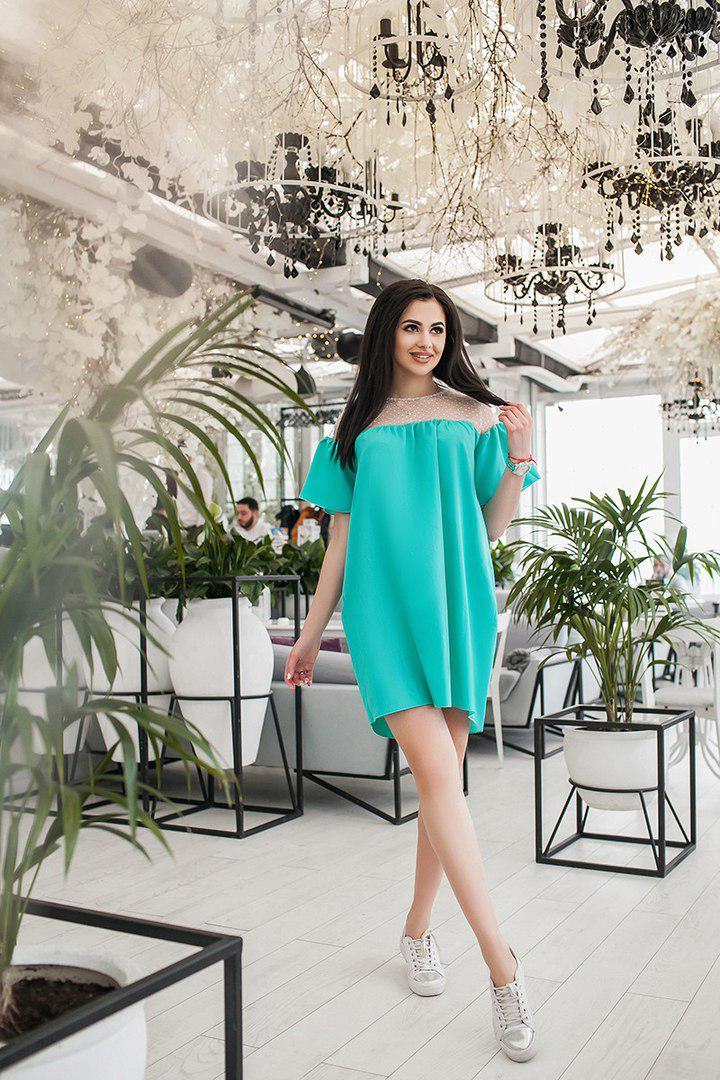 Платье свободного кроя с расклешенным коротким рукавом  / 2 цвета арт 4542-8