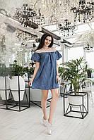 Джинсовое платье расклешенное , с коротким рукавом, принт горошек арт 4543-8
