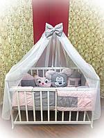 """Набор постельного в детскую кроватку """"Зверюшки"""" розовый"""
