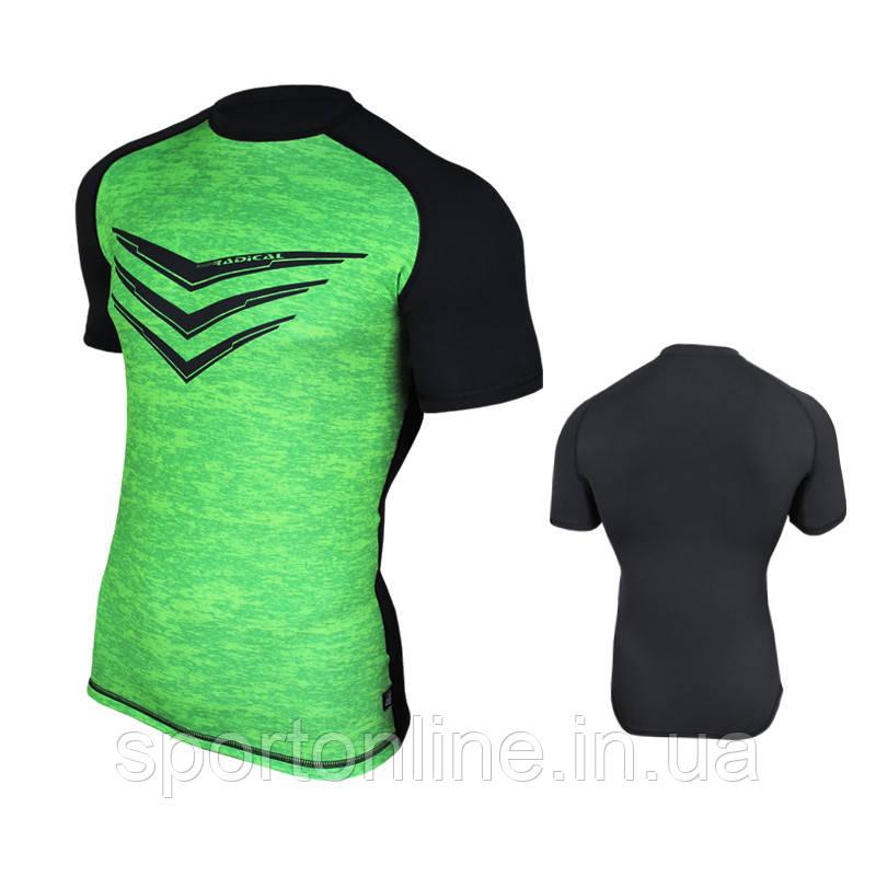 Спортивная мужская термо-футболка Radical Rashguard Smite SS, Зеленый