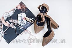 Замшевые босоножки на каблуке Christina. Опт, розница