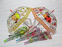 Детский прозрачный зонт куполообразный  3-7 лет Павлин, Божья коровка, Пчелка, Лягушонок, фото 1