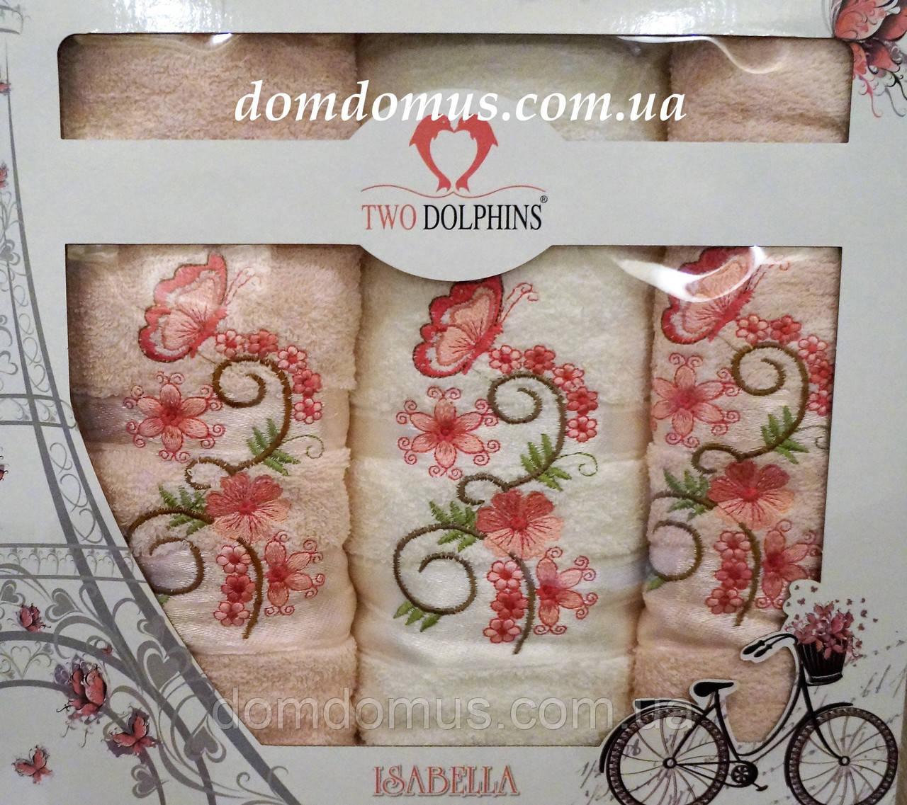"""Подарочный набор полотенец""""Isabella"""" (баня+2 лица) TWO DOLPHINS, Турция розовый 0171"""