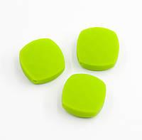 """Силиконовые бусины """"Квадраты плоские"""" зеленые 21х21 мм, фото 1"""
