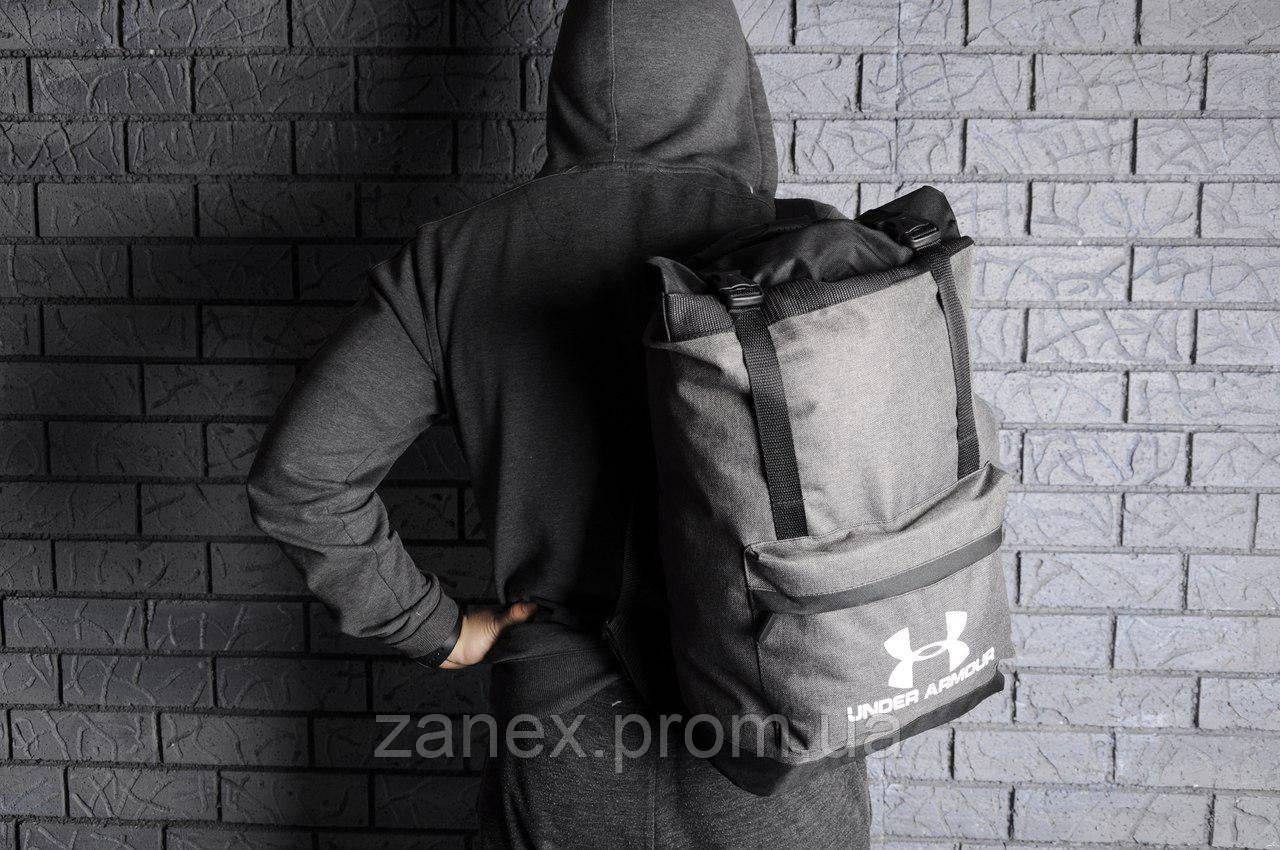 Рюкзак Under Armour городской мужской с отделением для ноутбука с кожаным дном (серый)