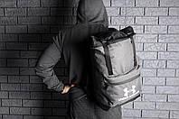 Рюкзак Under Armour городской мужской с отделением для ноутбука с кожаным дном (серый), фото 1