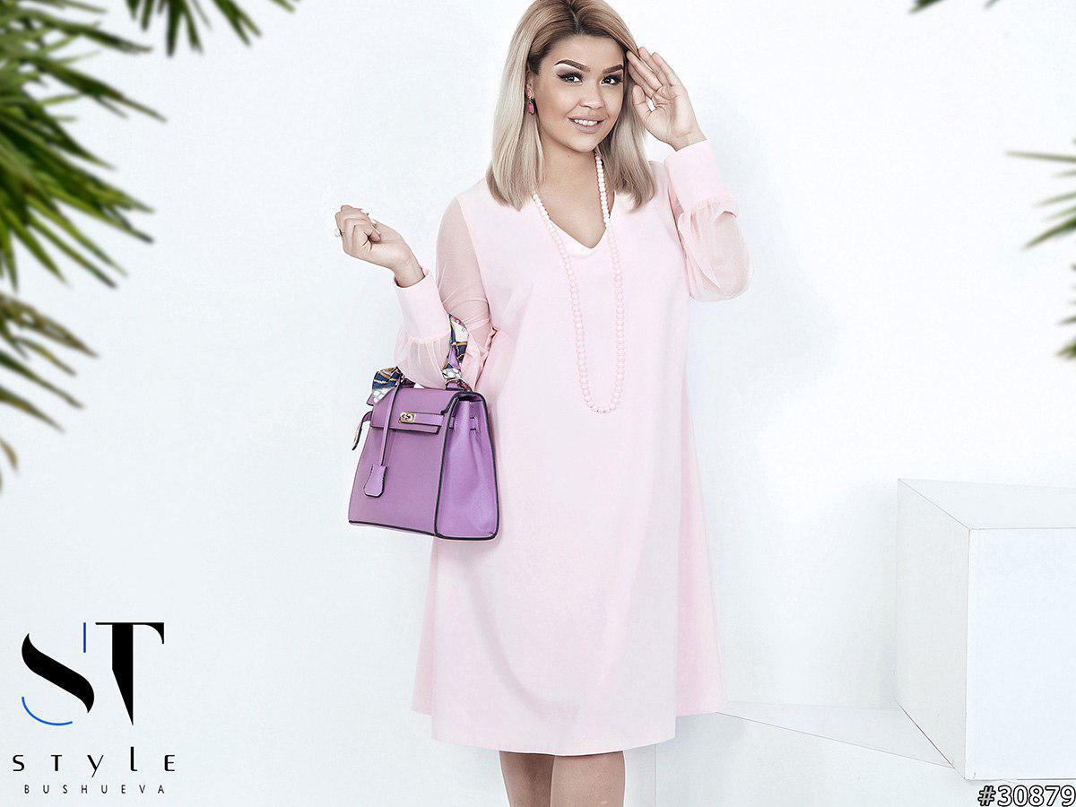 Платье больших размеров 50+ рукав сетка / 3 цвета арт 4562-121