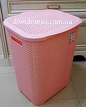 "Корзина для белья ""Вязка"" 65 л Tuppex, Турция, розовая"