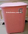 """Кошик для білизни """"В'язка"""" 65 л Tuppex, Туреччина, рожева, фото 2"""