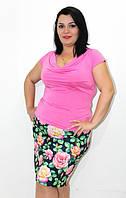 Костюм женский летний, костюм с юбкой, ткань масло. Батальные размеры. Разные цвета.