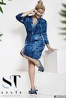 Платье-рубашка больших размеров 50+ из принтованного штапеля, с карманами / 3 цвета арт 4565-121