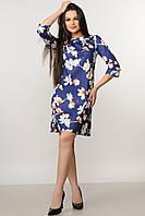 Платье свободного кроя расклешенное к низу с модным принтом 42-52 размер