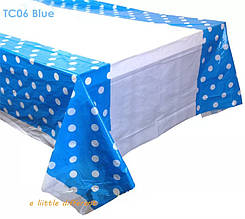 Скатертина в горох блакитна 110*180 см