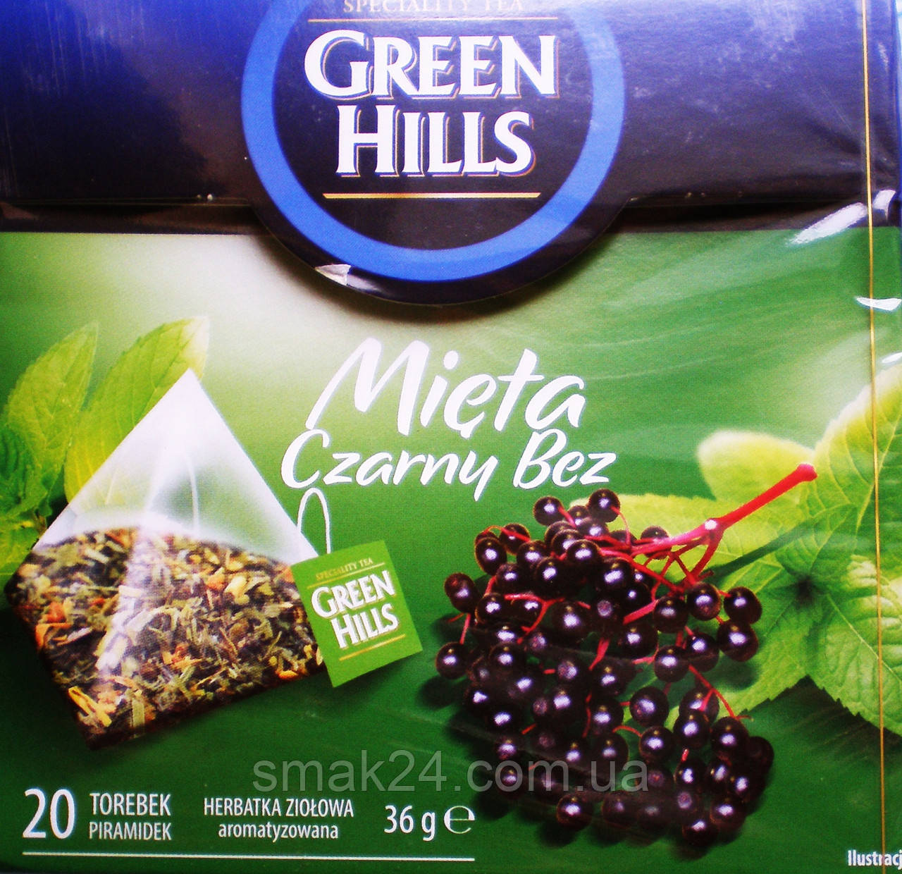 Чай  Green Hills с мятой и бузиной 20 пирамидок  Польша