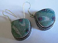 Яркие серебряные серьги  с натуральным  циозитом  от студии LadyStyle.Biz, фото 1