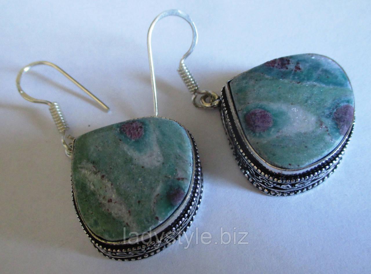 Яркие серебряные серьги  с натуральным  циозитом  от студии LadyStyle.Biz