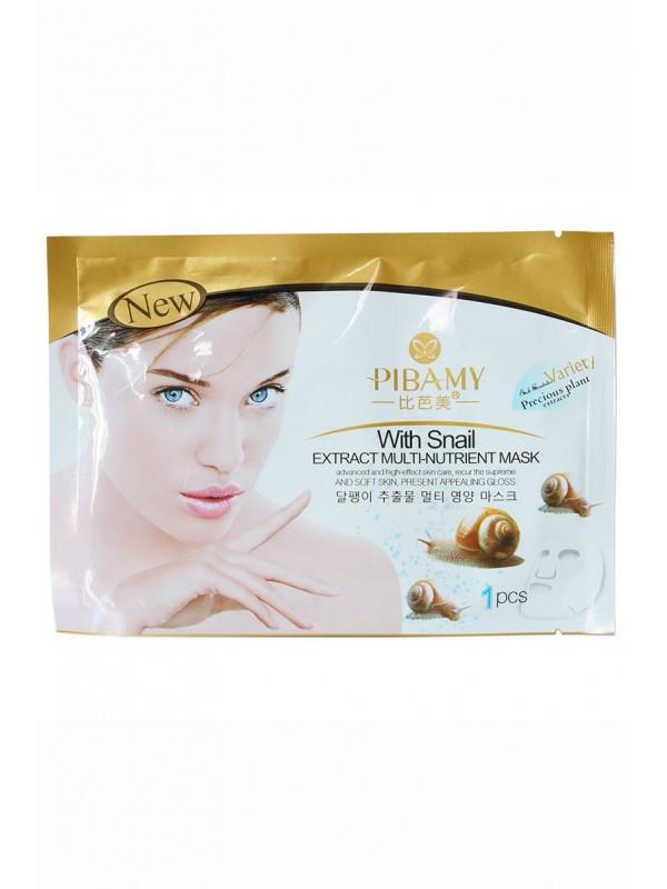 Тканинна маска для обличчя з муцином равлики і гіалуронової кислотою Pibamy with Snail Extract Multi-Nutrient Mask