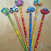 Набор простых карандашей 6шт с фигуркой на пружинке, фото 1