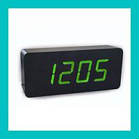 Цифровые деревянные часы 865-4 (green)!Акция