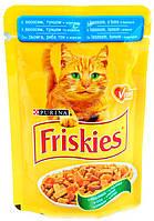 Корм ФРИСКИС (Friskies) пауч для кошек лосось тунец в подливке 100 гр
