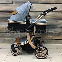 Лёгкая НОВАЯ детская коляска 2в1 СЕРАЯ НА ЗОЛОТОЙ РАМЕ (трансформер) Aimile, фото 1