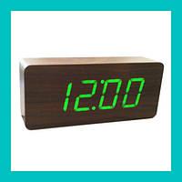 Цифровые деревянные часы 865-4 (green)