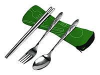 Туристичні столові прибори 3 в 1, + чохол  Зелений