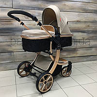 Лёгкая НОВАЯ детская коляска 2в1 БЕЖЕВАЯ НА ЗОЛОТОЙ РАМЕ (трансформер) Aimile, фото 1