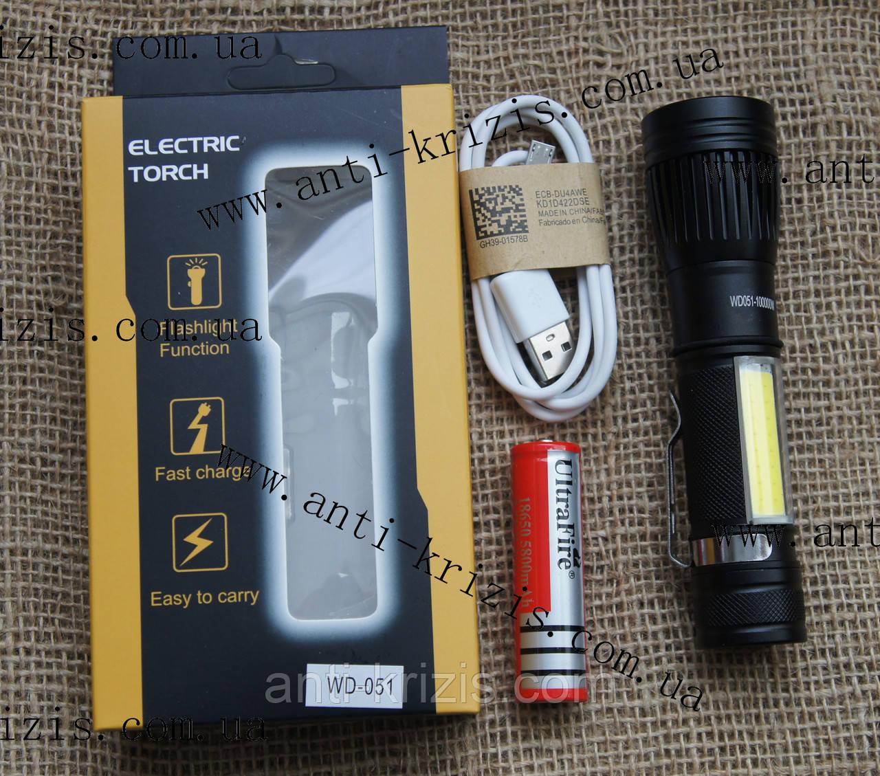 Ручний акумуляторний ліхтар Police WD224 (WD051)-T6+COB, 100000W, zoom, USB