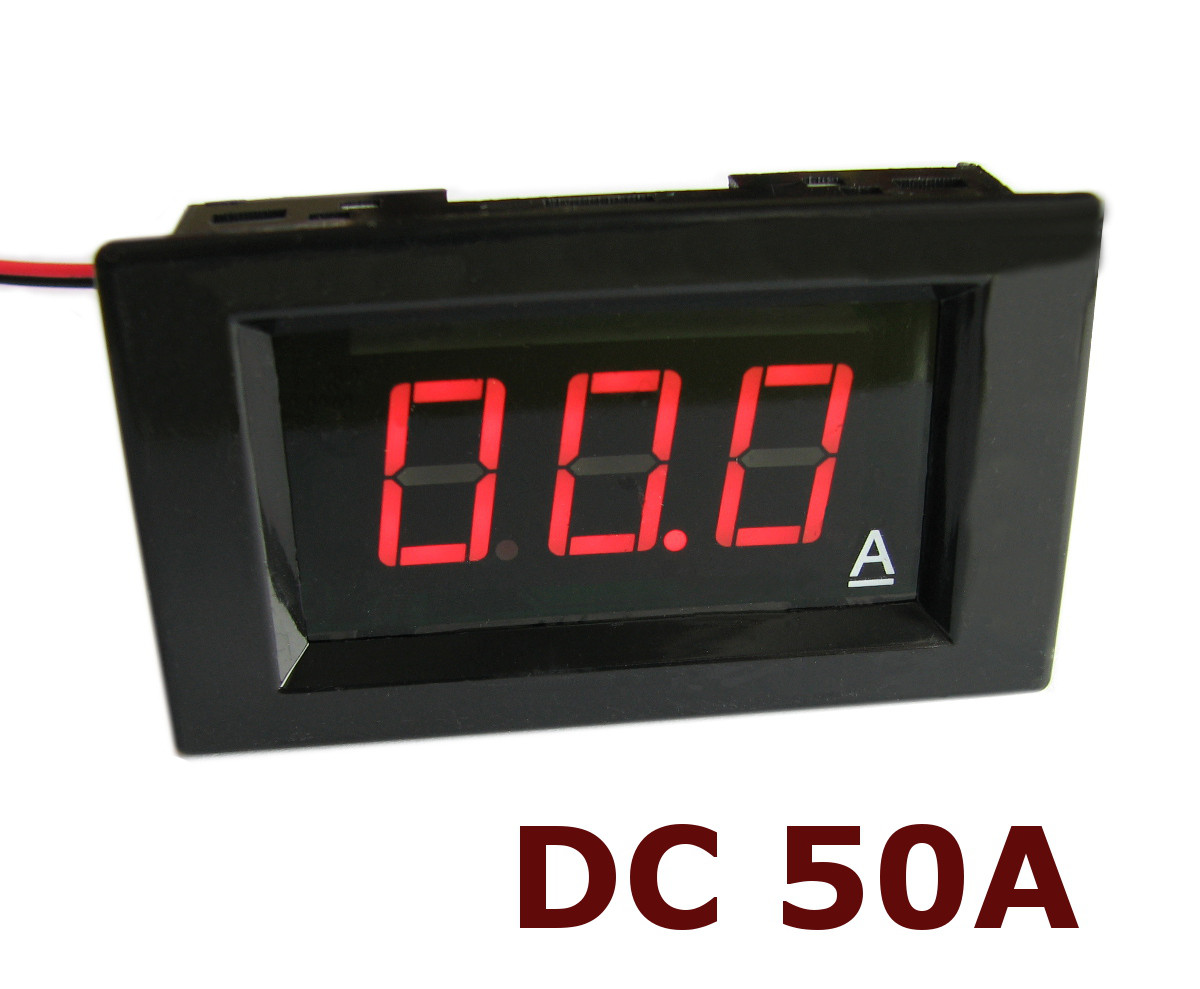 Амперметр постоянного тока до 50А DC цифровой встраиваемый A85DC Красный + шунт