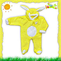 Детский махровый комбинезон Зайка желтый