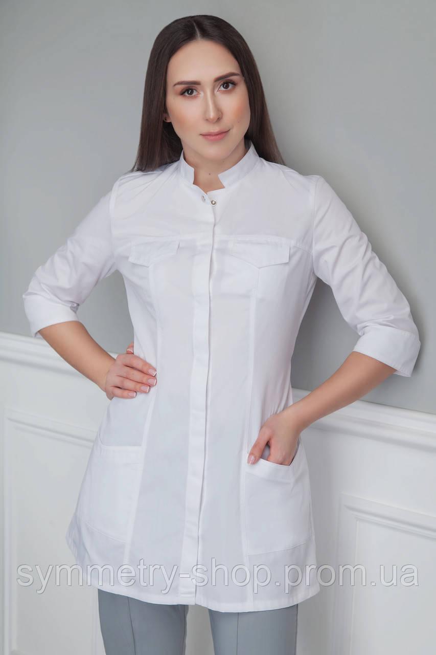 H005 Медицинский укороченный халат, белый