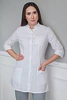 H005 Медицинский укороченный халат, белый, фото 1