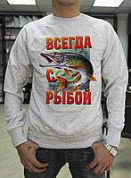 """Мужской реглан Fruit of the loom """"Всегда с рыбой"""""""