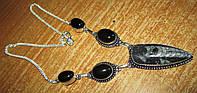 Шикарное серебряное колье с ортоцерасом и черным ониксом, фото 1