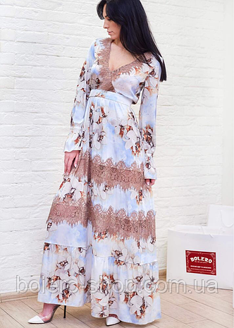 Платье шёлк в цветы с кружевом Италия, фото 2