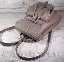 123 Натуральная кожа Городской рюкзак бежевый Кожаный рюкзак Из натуральной кожи Рюкзак женский пудра рюкзак, фото 2