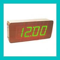 Цифровые деревянные часы 865-4 (green)!Опт