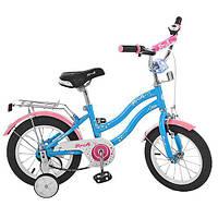 Детский двухколесный велосипед 14 дюймов, Star голубой (L1494)