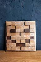 Деревянное панно,панель из дубовых кубиков.